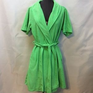 Capelli Above Knee Robe Green M Tie Belt Terry